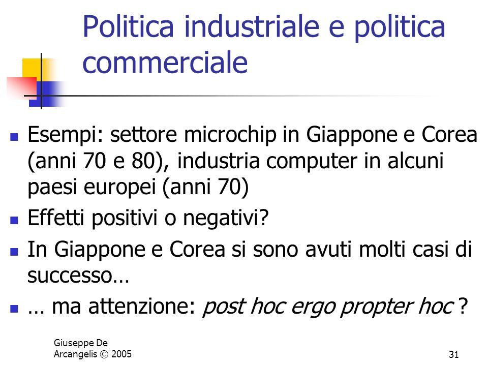 Giuseppe De Arcangelis © 200531 Politica industriale e politica commerciale Esempi: settore microchip in Giappone e Corea (anni 70 e 80), industria co