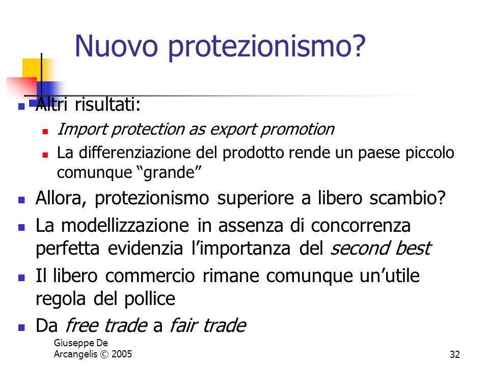 Giuseppe De Arcangelis © 200532 Nuovo protezionismo? Altri risultati: Import protection as export promotion La differenziazione del prodotto rende un