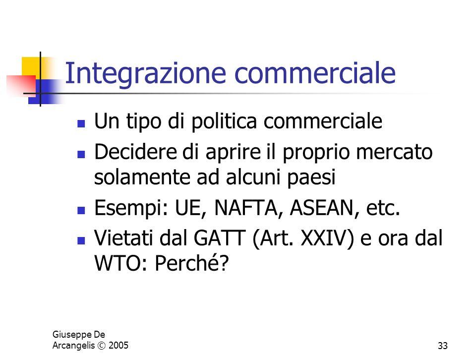 Giuseppe De Arcangelis © 200533 Integrazione commerciale Un tipo di politica commerciale Decidere di aprire il proprio mercato solamente ad alcuni pae