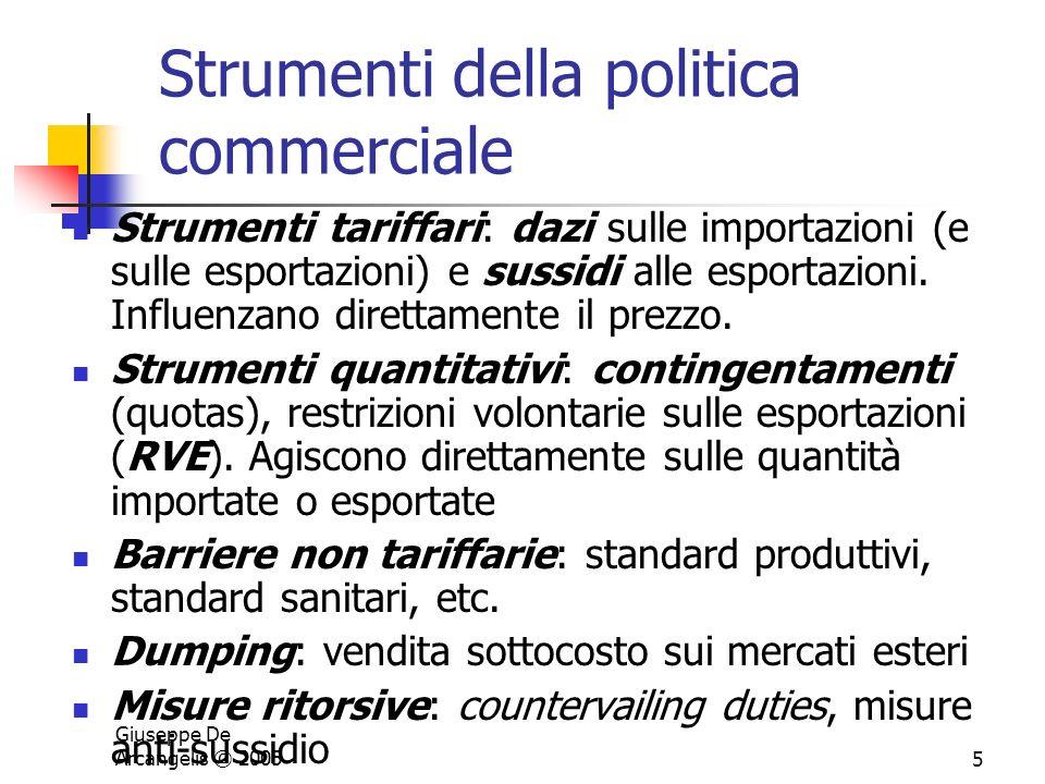 Giuseppe De Arcangelis © 20055 Strumenti della politica commerciale Strumenti tariffari: dazi sulle importazioni (e sulle esportazioni) e sussidi alle