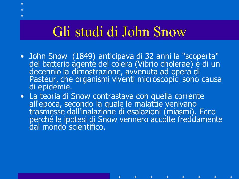 John Snow (1849) anticipava di 32 anni la scoperta del batterio agente del colera (Vibrio cholerae) e di un decennio la dimostrazione, avvenuta ad opera di Pasteur, che organismi viventi microscopici sono causa di epidemie.