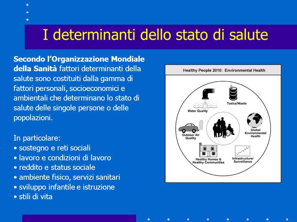 I determinanti dello stato di salute Lo stato di salute di una popolazione è il risultato dellazione di numerosi determinanti, sia in senso negativo (
