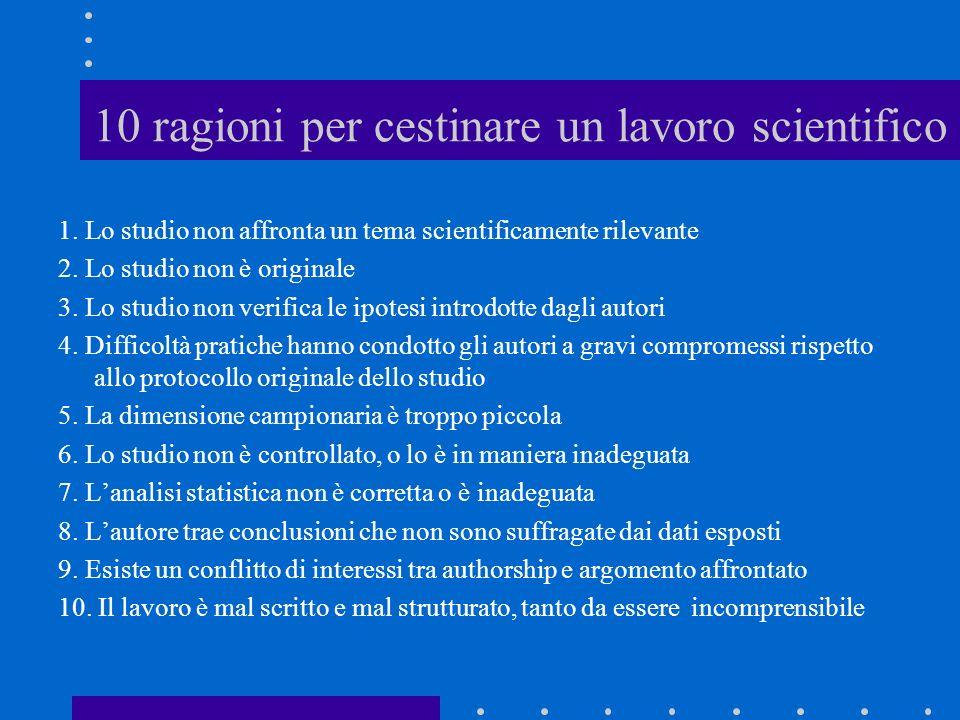 10 ragioni per cestinare un lavoro scientifico 1. Lo studio non affronta un tema scientificamente rilevante 2. Lo studio non è originale 3. Lo studio