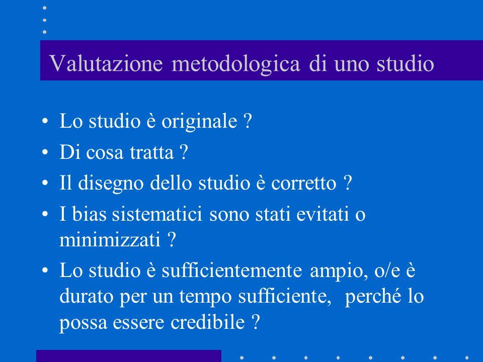 Valutazione metodologica di uno studio Lo studio è originale ? Di cosa tratta ? Il disegno dello studio è corretto ? I bias sistematici sono stati evi