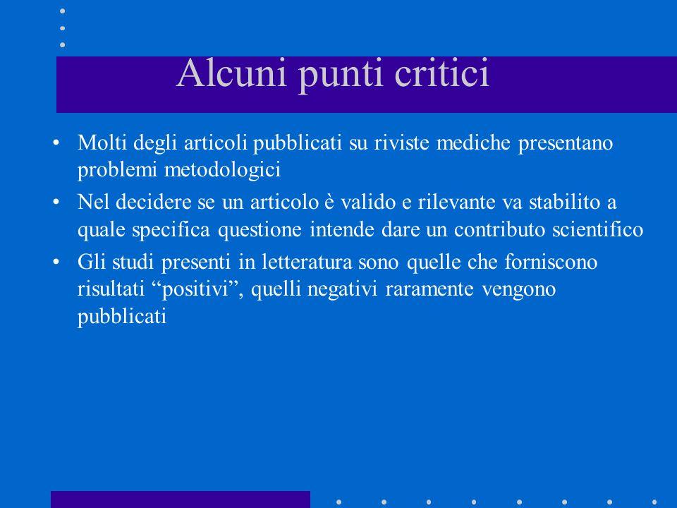 Alcuni punti critici Molti degli articoli pubblicati su riviste mediche presentano problemi metodologici Nel decidere se un articolo è valido e rileva