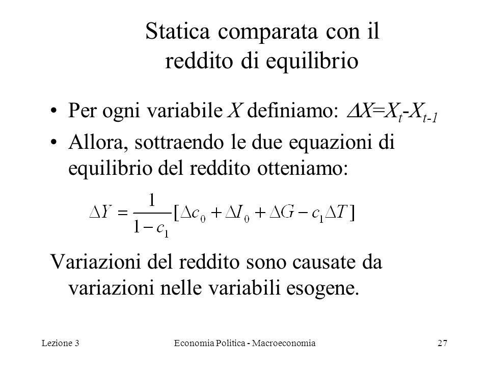 Lezione 3Economia Politica - Macroeconomia27 Per ogni variabile X definiamo: X=X t -X t-1 Allora, sottraendo le due equazioni di equilibrio del reddito otteniamo: Variazioni del reddito sono causate da variazioni nelle variabili esogene.