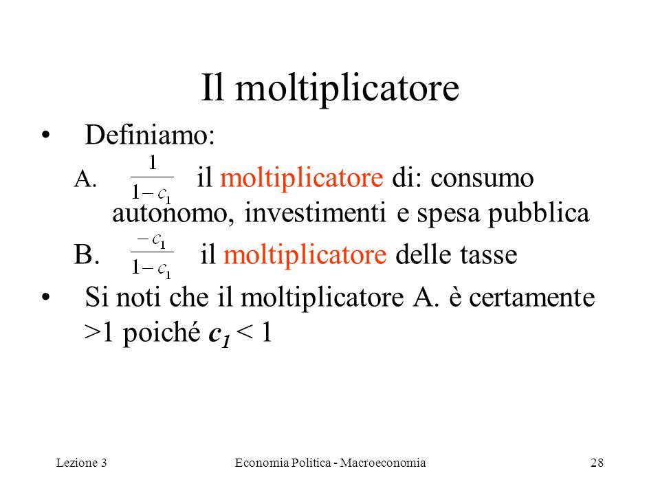Lezione 3Economia Politica - Macroeconomia28 Il moltiplicatore Definiamo: A.