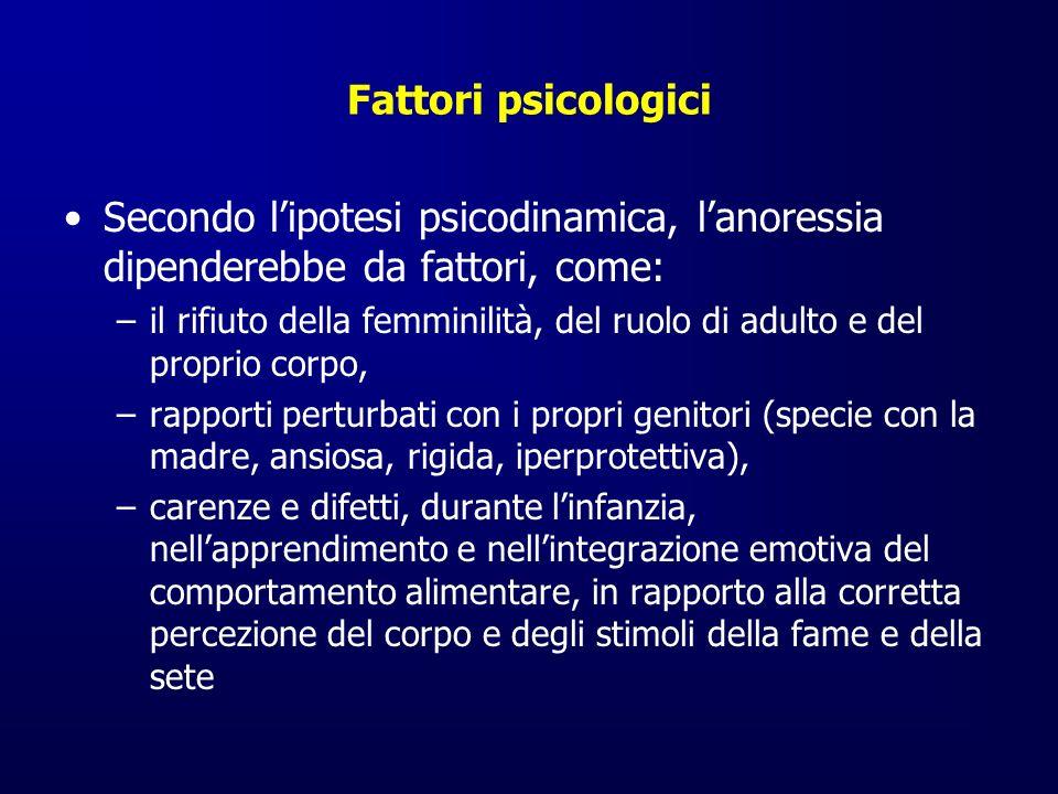 Fattori psicologici Secondo lipotesi psicodinamica, lanoressia dipenderebbe da fattori, come: –il rifiuto della femminilità, del ruolo di adulto e del