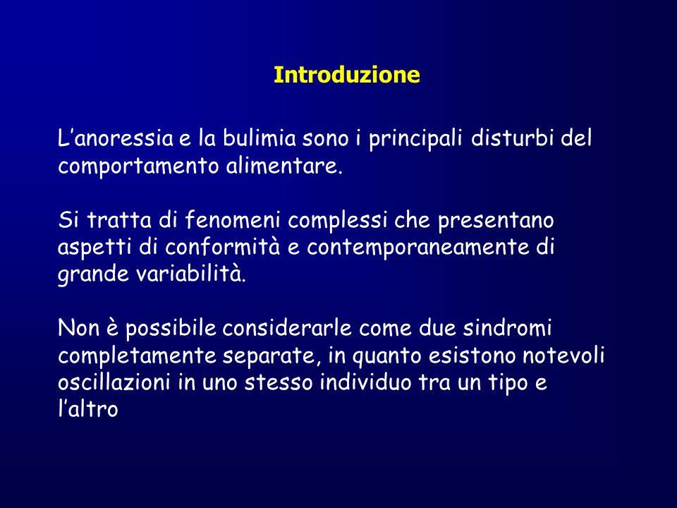 Casi dichiarati di Anoressia, Bulimia e Depressione nella popolazione Italiana per sesso e classe di età.