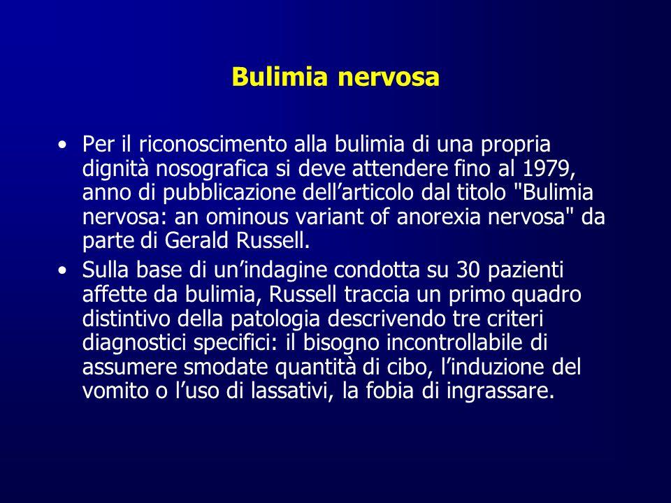 Per il riconoscimento alla bulimia di una propria dignità nosografica si deve attendere fino al 1979, anno di pubblicazione dellarticolo dal titolo