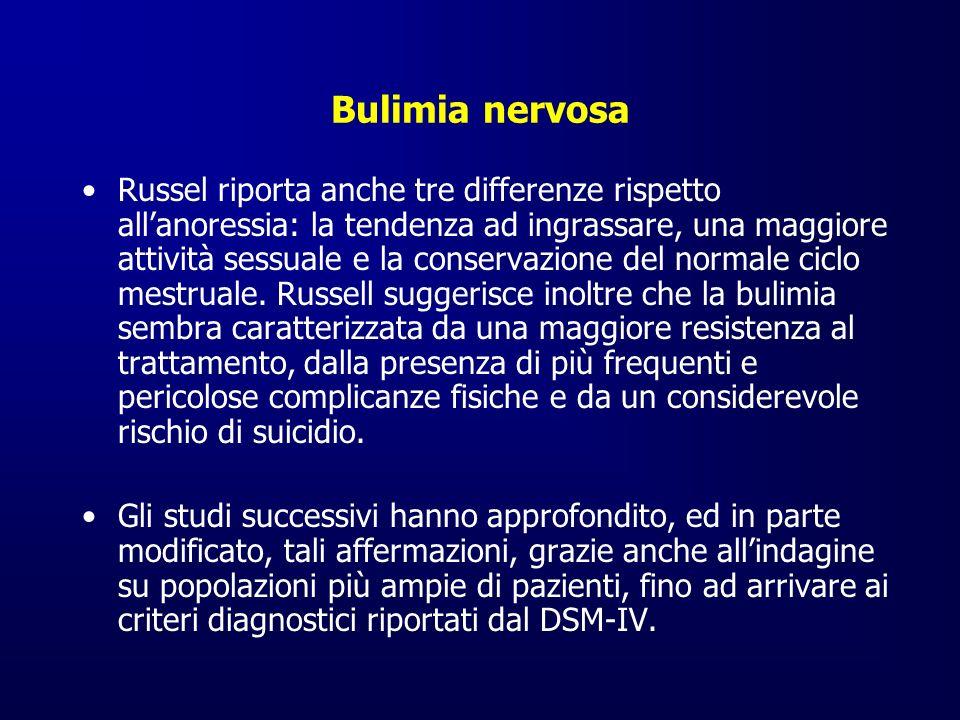 Bulimia nervosa Russel riporta anche tre differenze rispetto allanoressia: la tendenza ad ingrassare, una maggiore attività sessuale e la conservazion