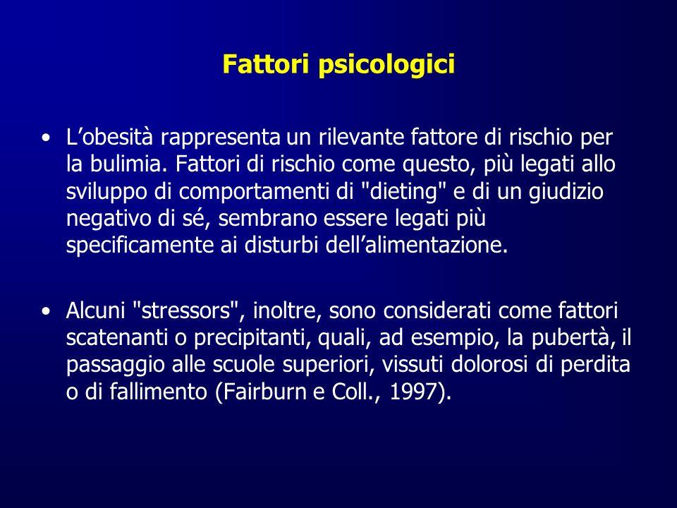 Fattori psicologici Lobesità rappresenta un rilevante fattore di rischio per la bulimia. Fattori di rischio come questo, più legati allo sviluppo di c