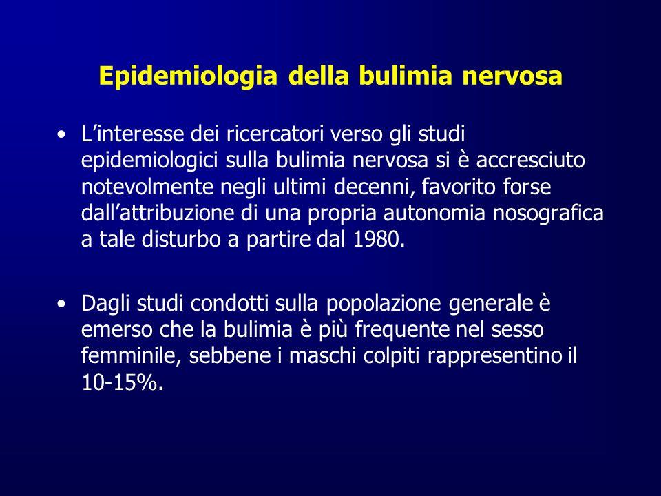 Epidemiologia della bulimia nervosa Linteresse dei ricercatori verso gli studi epidemiologici sulla bulimia nervosa si è accresciuto notevolmente negl