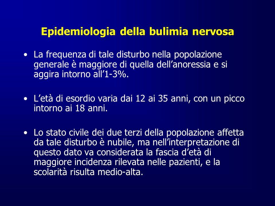 Epidemiologia della bulimia nervosa La frequenza di tale disturbo nella popolazione generale è maggiore di quella dellanoressia e si aggira intorno al