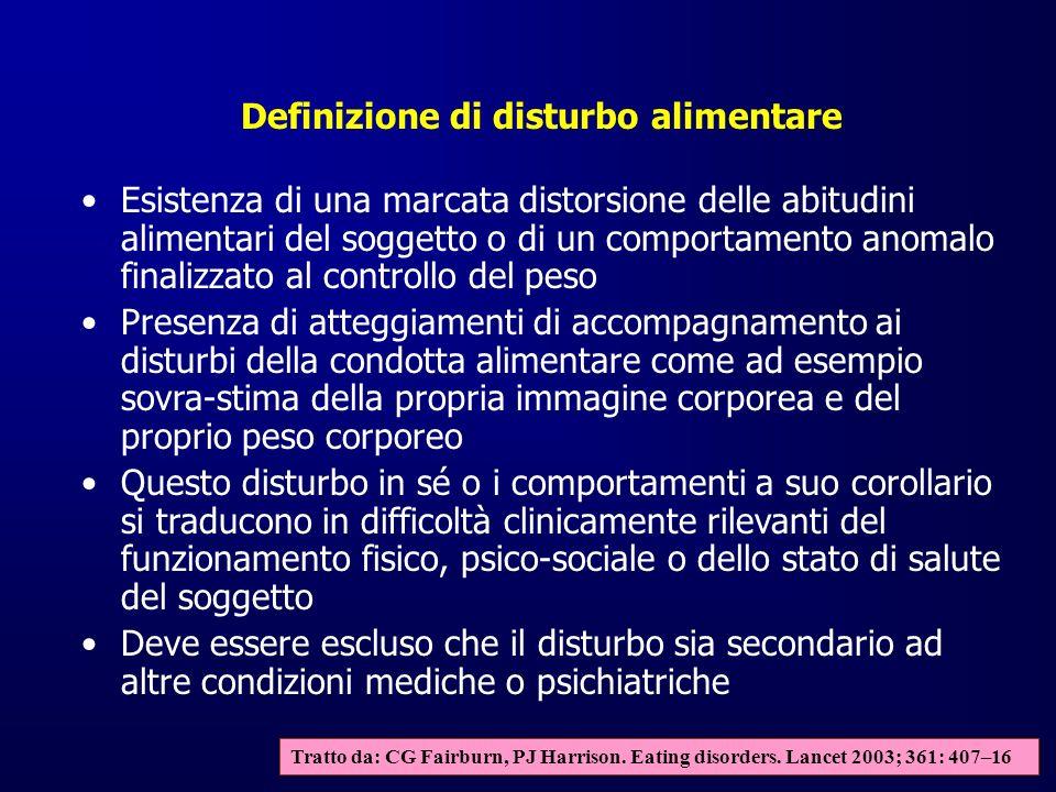 Classificazione dei disturbi alimentari Anoressia nervosa Bulimia nervosa Eating disorders atipici (non altrimenti specificati) Tratto da: CG Fairburn, PJ Harrison.