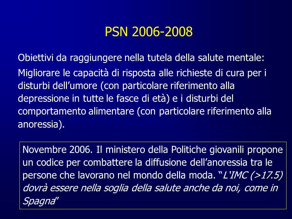 PSN 2006-2008 Obiettivi da raggiungere nella tutela della salute mentale: Migliorare le capacità di risposta alle richieste di cura per i disturbi del