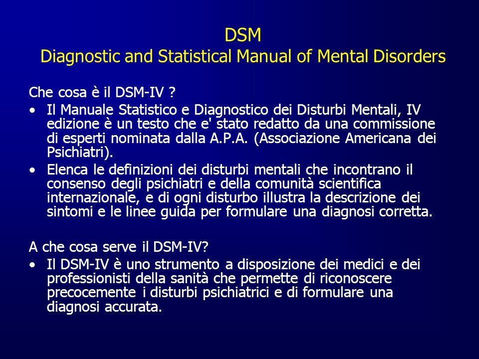 DSM Diagnostic and Statistical Manual of Mental Disorders Che cosa è il DSM-IV ? Il Manuale Statistico e Diagnostico dei Disturbi Mentali, IV edizione