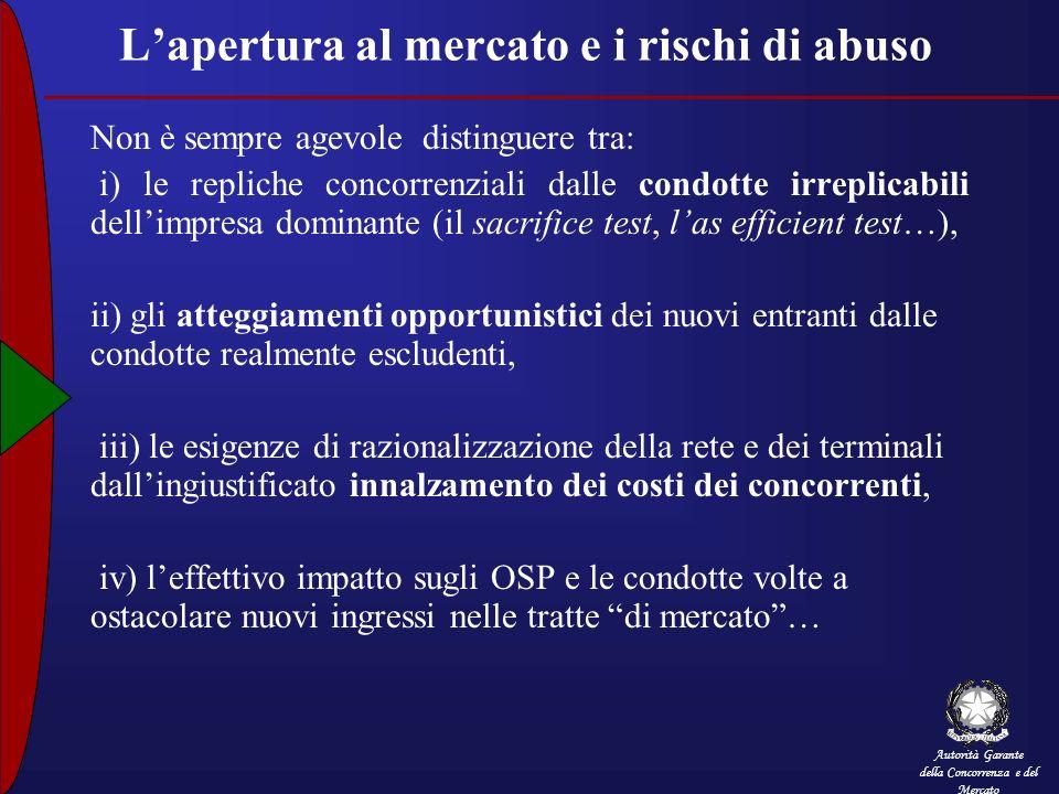Autorità Garante della Concorrenza e del Mercato Lapertura al mercato e i rischi di abuso Non è sempre agevole distinguere tra: i) le repliche concorr