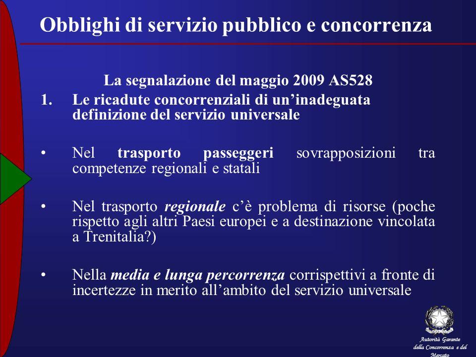 Autorità Garante della Concorrenza e del Mercato Obblighi di servizio pubblico e concorrenza La segnalazione del maggio 2009 AS528 1.Le ricadute conco