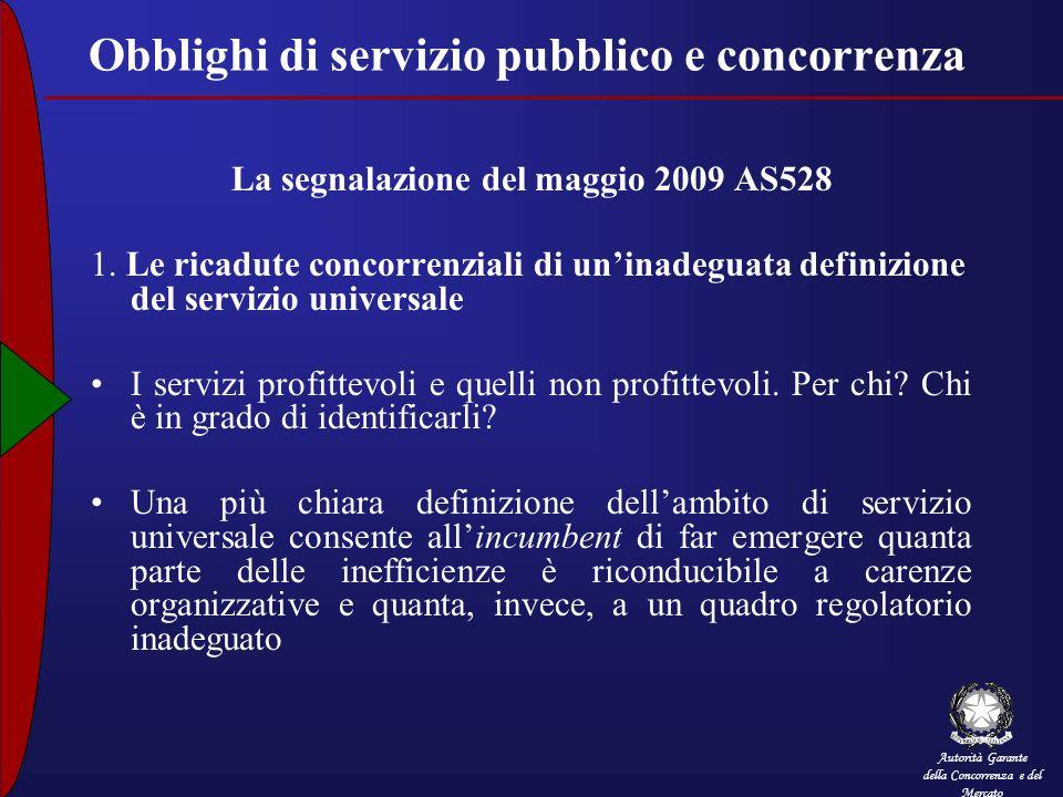 Autorità Garante della Concorrenza e del Mercato Obblighi di servizio pubblico e concorrenza La segnalazione del maggio 2009 AS528 1. Le ricadute conc