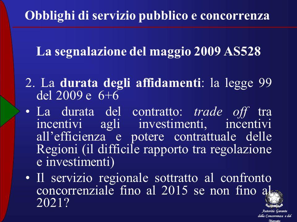 Autorità Garante della Concorrenza e del Mercato Obblighi di servizio pubblico e concorrenza La segnalazione del maggio 2009 AS528 2. La durata degli