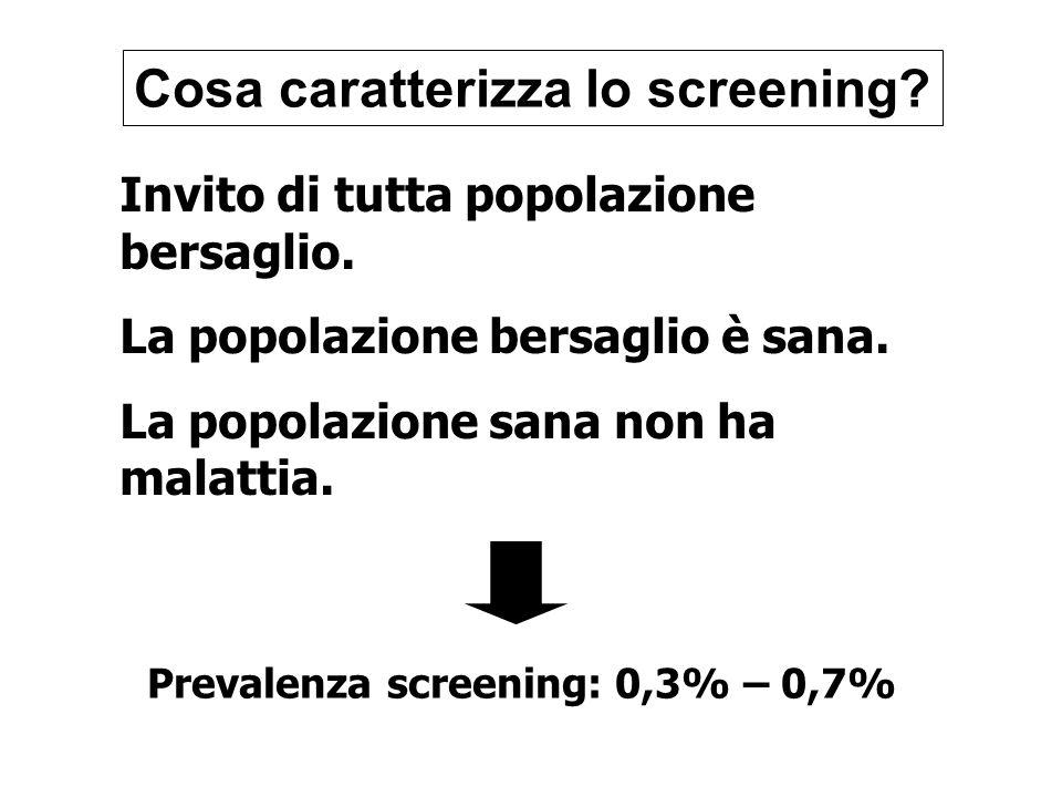 Cosa caratterizza lo screening? Invito di tutta popolazione bersaglio. La popolazione bersaglio è sana. La popolazione sana non ha malattia. Prevalenz