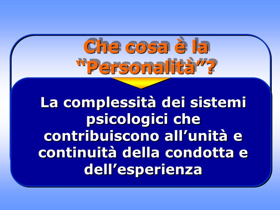 Che cosa è la Personalità? La complessità dei sistemi psicologici che contribuiscono allunità e continuità della condotta e dellesperienza