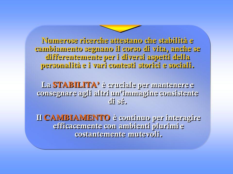 Numerose ricerche attestano che stabilità e cambiamento segnano il corso di vita, anche se differentemente per i diversi aspetti della personalità e i