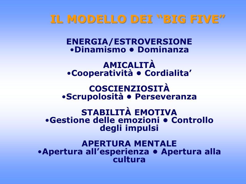 IL MODELLO DEI BIG FIVE ENERGIA/ESTROVERSIONE Dinamismo Dominanza AMICALITÀ Cooperatività Cordialita COSCIENZIOSITÀ Scrupolosità Perseveranza STABILIT