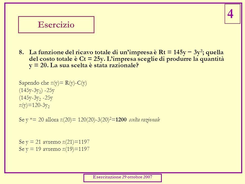 Esercizio 8.La funzione del ricavo totale di unimpresa è Rt = 145y 3y 2 ; quella del costo totale è Ct = 25y. Limpresa sceglie di produrre la quantità