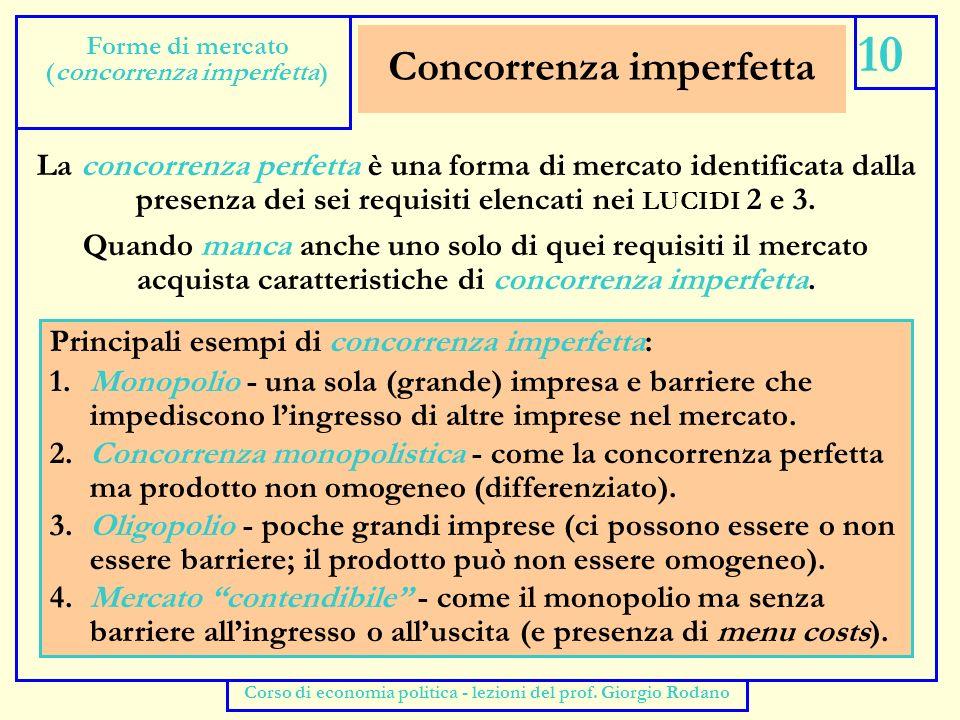 Monopolio 11 Forme di mercato (monopolio) Corso di economia politica - lezioni del prof.