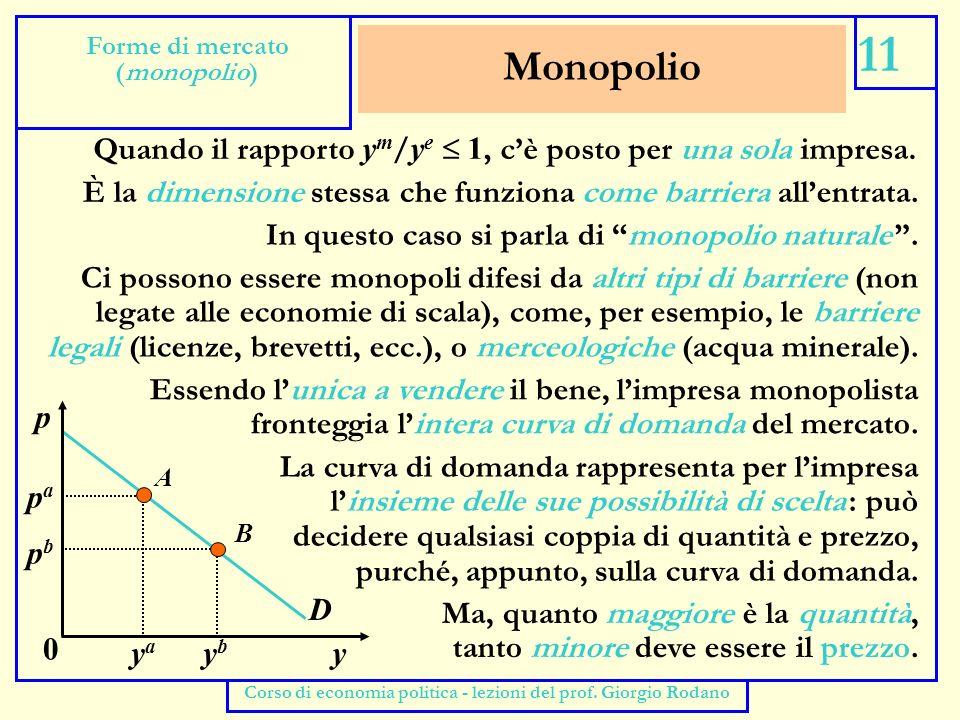 Ricavo marginale e monopolio 12 Forme di mercato (monopolio) Corso di economia politica - lezioni del prof.