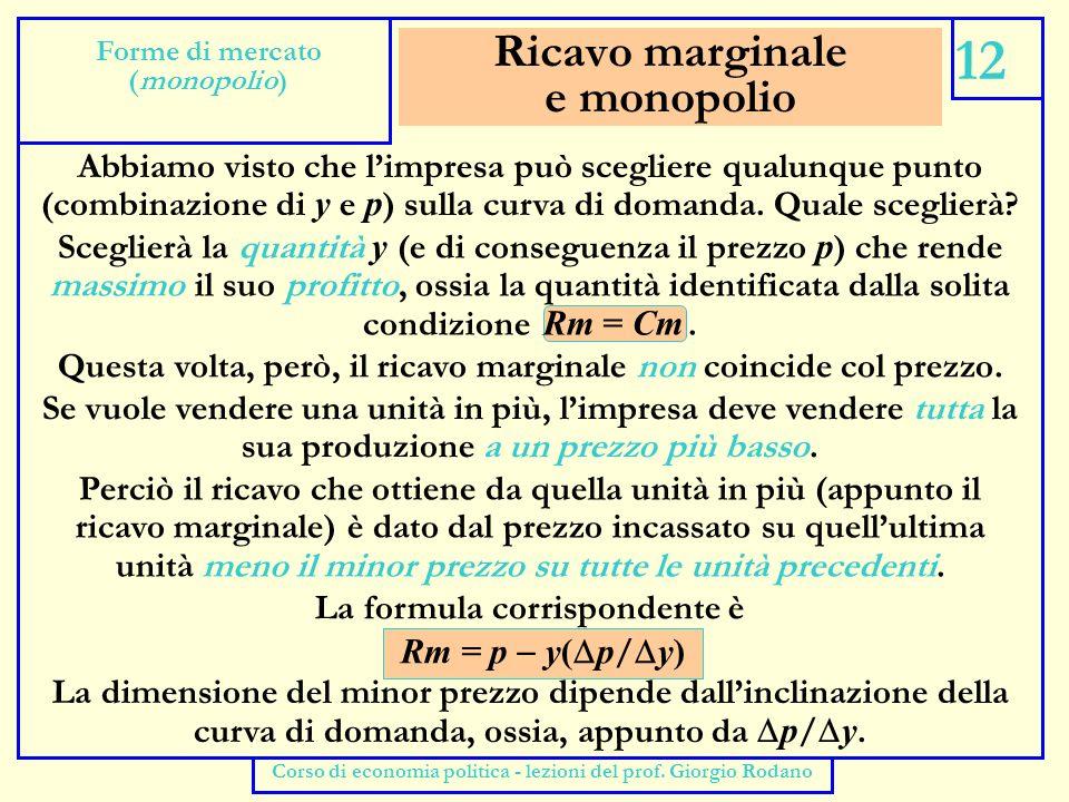 Prezzo e ricavo marginale 13 Forme di mercato (monopolio) Corso di economia politica - lezioni del prof.
