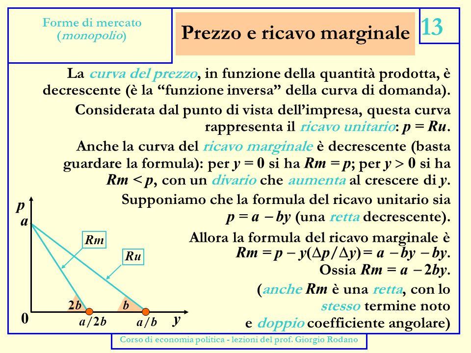 La scelta del monopolista 14 Forme di mercato (monopolio) Corso di economia politica - lezioni del prof.