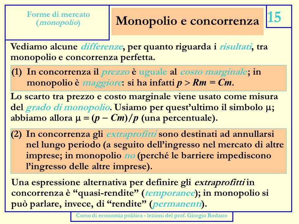 Concorrenza monopolistica (breve periodo) 16 Forme di mercato (concorrenza monopolistica) Corso di economia politica - lezioni del prof.