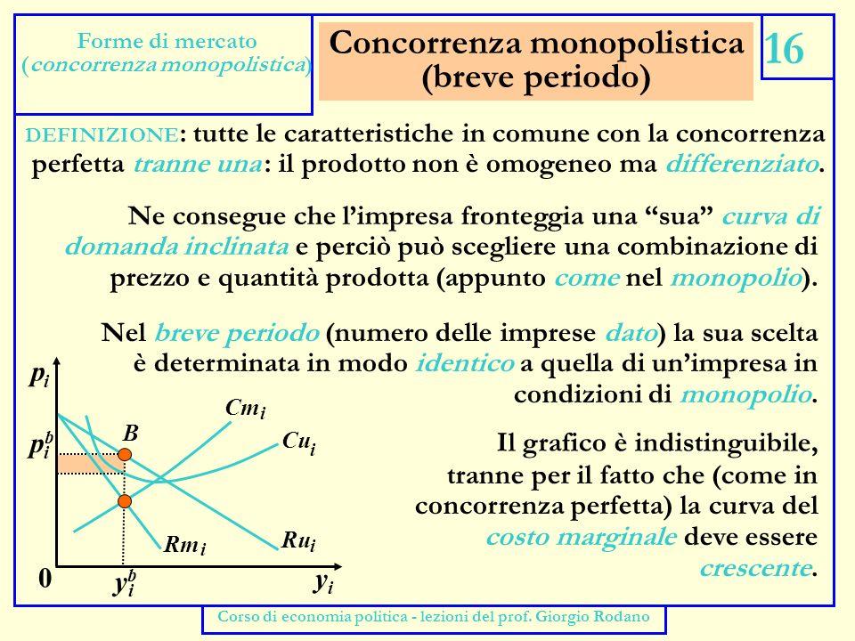 Concorrenza monopolistica (lungo periodo) 17 Forme di mercato (concorrenza monopolistica) Corso di economia politica - lezioni del prof.
