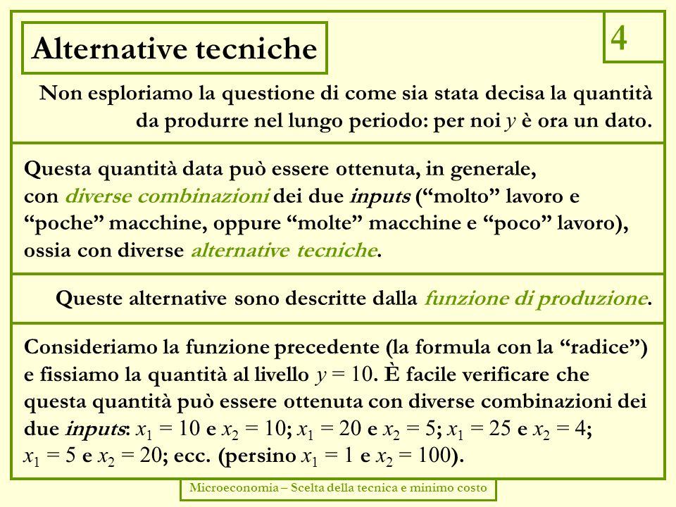 5 Microeconomia – Scelta della tecnica e minimo costo Isoquanto Nel nostro esempio la funzione di produzione descrive una tecnologia che ammette sostituibilità tra i due inputs.