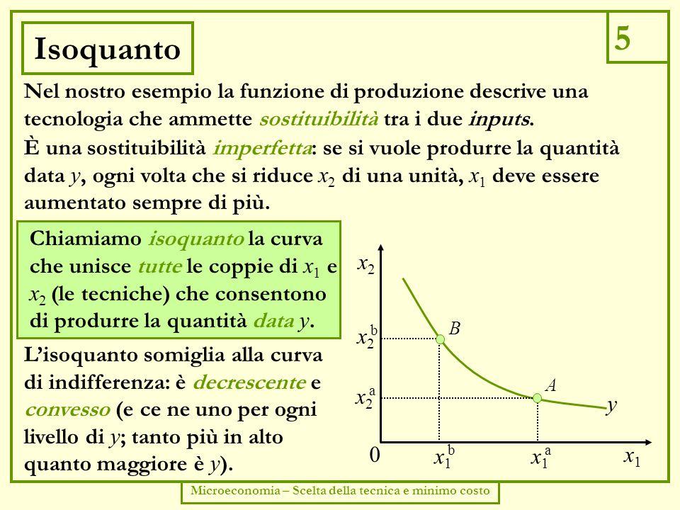 6 Microeconomia – Scelta della tecnica e minimo costo Saggio marginale di sostituzione tecnica Le caratteristiche della curva di indifferenza sono descritte dal saggio marginale di sostituzione ( SMS ).