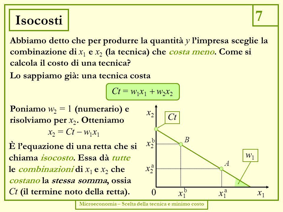 8 Microeconomia – Scelta della tecnica e minimo costo Isoquanto e isocosti Se decide di produrre la quantità y, limpresa può scegliere un punto (una tecnica) sullisoquanto corrispondente.