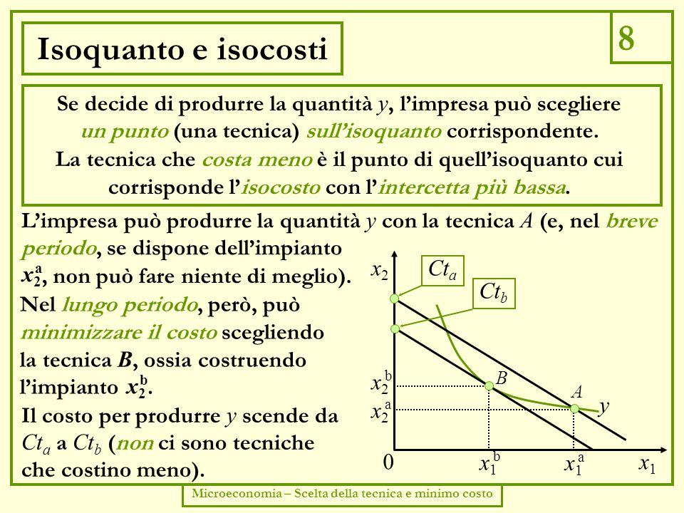 9 Microeconomia – Scelta della tecnica e minimo costo Efficienza economica Lisocosto più basso (che identifica la tecnica che minimizza il costo) è quello tangente allisoquanto.
