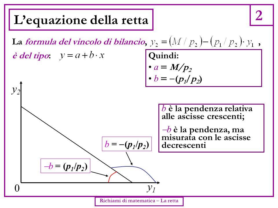 2 Richiami di matematica – La retta Lequazione della retta è del tipo: La formula del vincolo di bilancio,, y2y2 0 Quindi: a M/p 2 b (p 1 /p 2 ) b è l