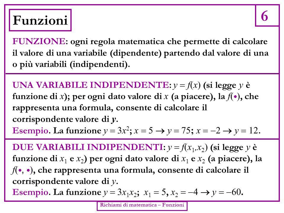 6 Richiami di matematica – Funzioni Funzioni FUNZIONE: ogni regola matematica che permette di calcolare il valore di una variabile (dipendente) parten