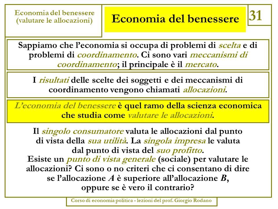 Economia del benessere 31 Economia del benessere (valutare le allocazioni) Corso di economia politica - lezioni del prof. Giorgio Rodano Sappiamo che