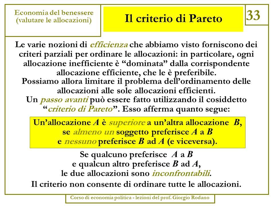 Il criterio di Pareto 33 Economia del benessere (valutare le allocazioni) Corso di economia politica - lezioni del prof. Giorgio Rodano Le varie nozio