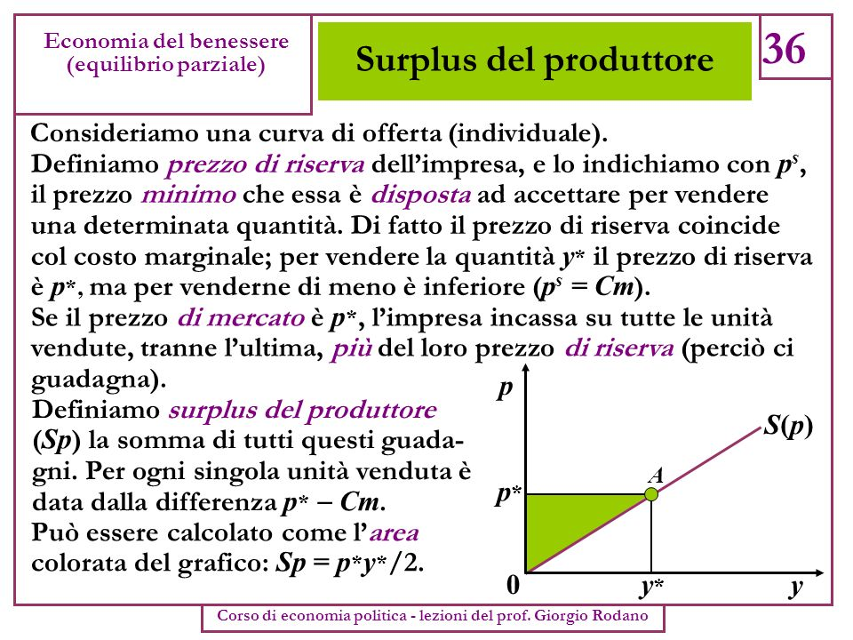 Surplus del produttore 36 Economia del benessere (equilibrio parziale) Corso di economia politica - lezioni del prof. Giorgio Rodano Consideriamo una
