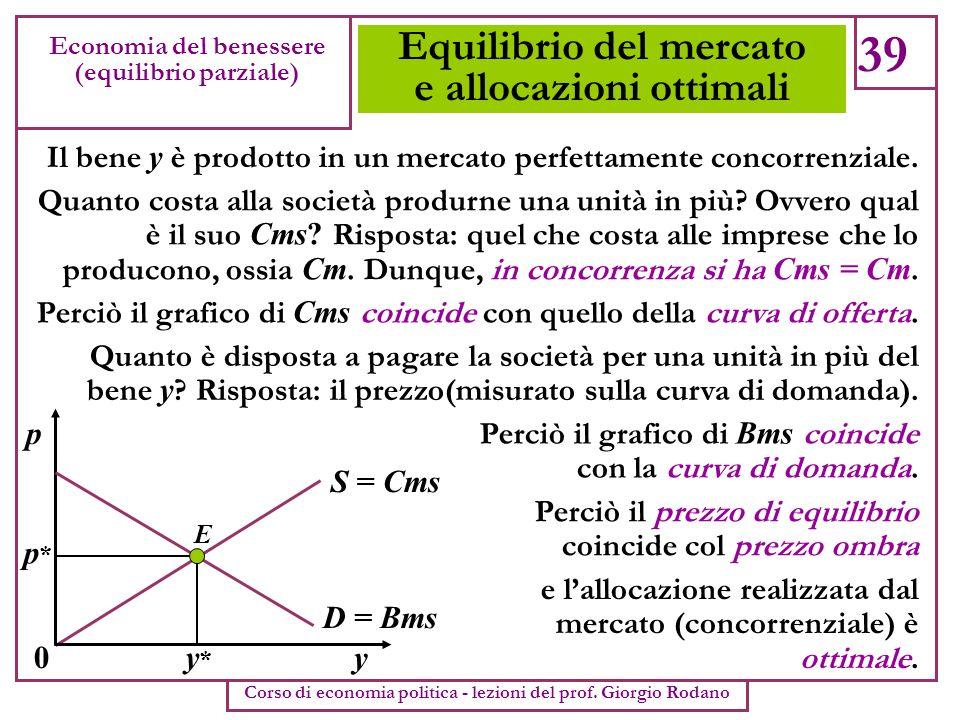 Equilibrio del mercato e allocazioni ottimali 39 Economia del benessere (equilibrio parziale) Corso di economia politica - lezioni del prof. Giorgio R