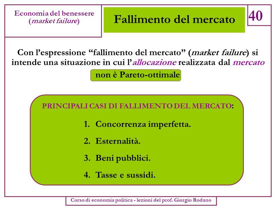 Fallimento del mercato 40 Economia del benessere (market failure) Corso di economia politica - lezioni del prof. Giorgio Rodano Con lespressione falli