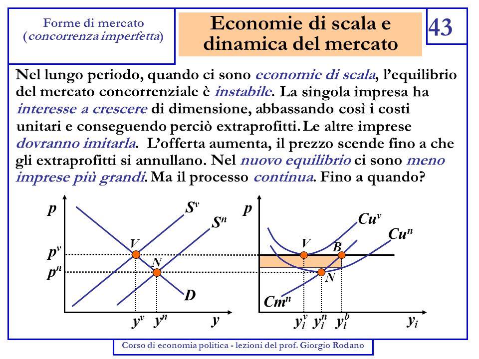 Economie di scala e dinamica del mercato 43 Forme di mercato (concorrenza imperfetta) Corso di economia politica - lezioni del prof. Giorgio Rodano Ne
