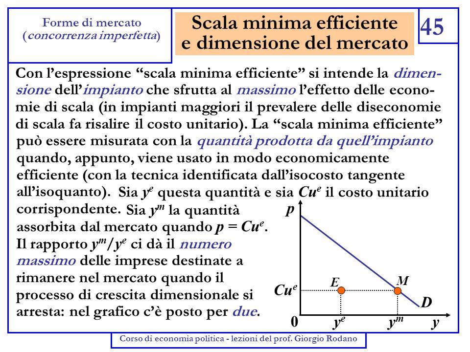 Scala minima efficiente e dimensione del mercato 45 Forme di mercato (concorrenza imperfetta) Corso di economia politica - lezioni del prof. Giorgio R