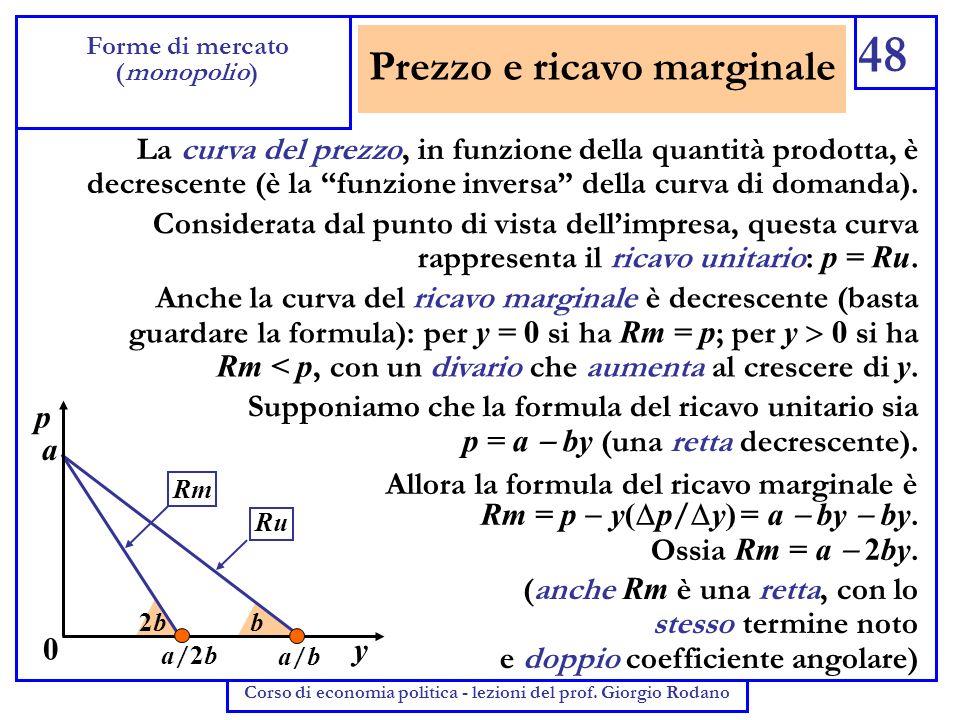 Prezzo e ricavo marginale 48 Forme di mercato (monopolio) Corso di economia politica - lezioni del prof. Giorgio Rodano La curva del prezzo, in funzio